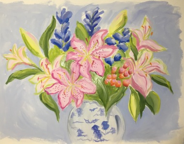 Pink Lilies with Blues-- SOLD