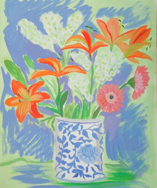 Blue and Orange Lilies -- SOLD