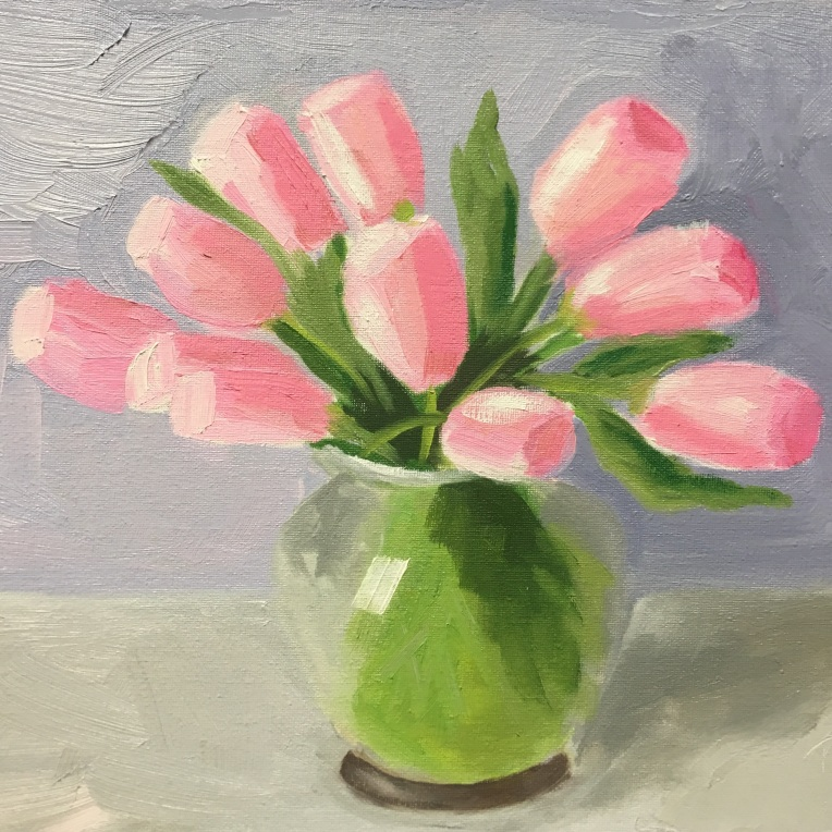 Pink Tulips in the Studio SOLD