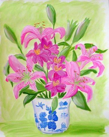 Pink Lilies in Chinoiserie
